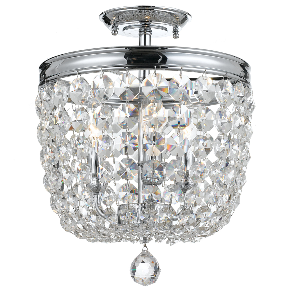 3 Light Polished Chrome Transitional Traditional Crystal Ceiling Mount D In Clear Swarovski Str