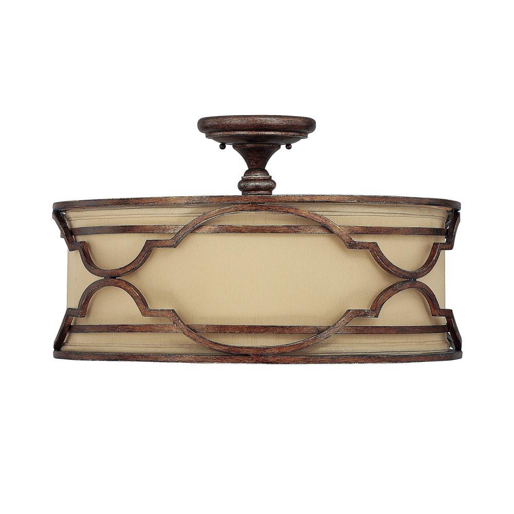 four light bronze with gold dust drum shade semi flush mount txl5