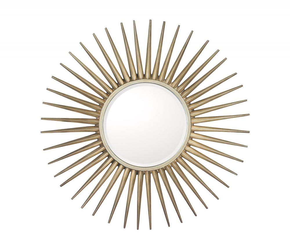 Brushed Silver Frame With Beveled Mirror Inner Mirror 14 5 Round